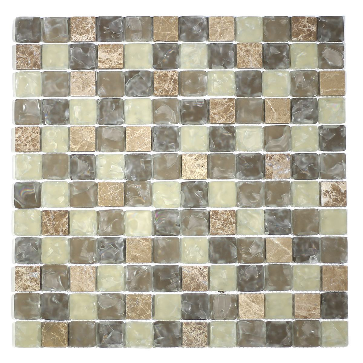 "MA16-LS  1"" SQUARE GLASS AND STONE CRACKLE MOSAIC"