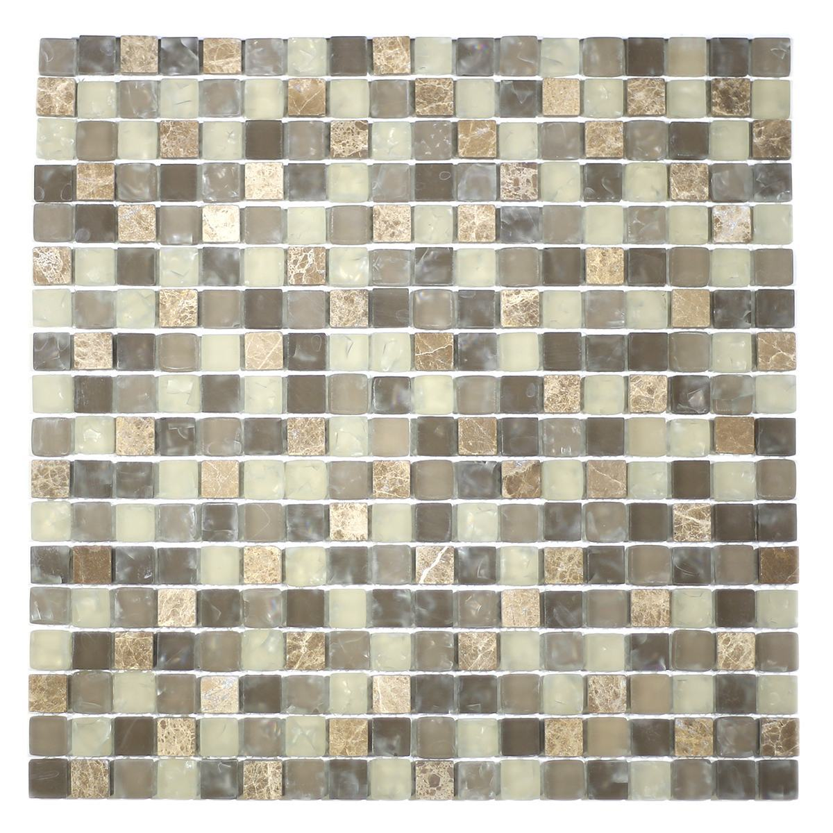 "MA16-S  5/8"" SQUARE GLASS AND STONE CRACKLE MOSAIC"