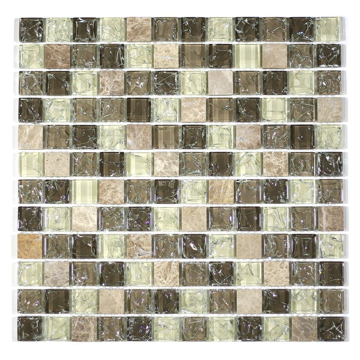 "MA17-LS  1"" SQUARE GLASS AND STONE CRACKLE MOSAIC"