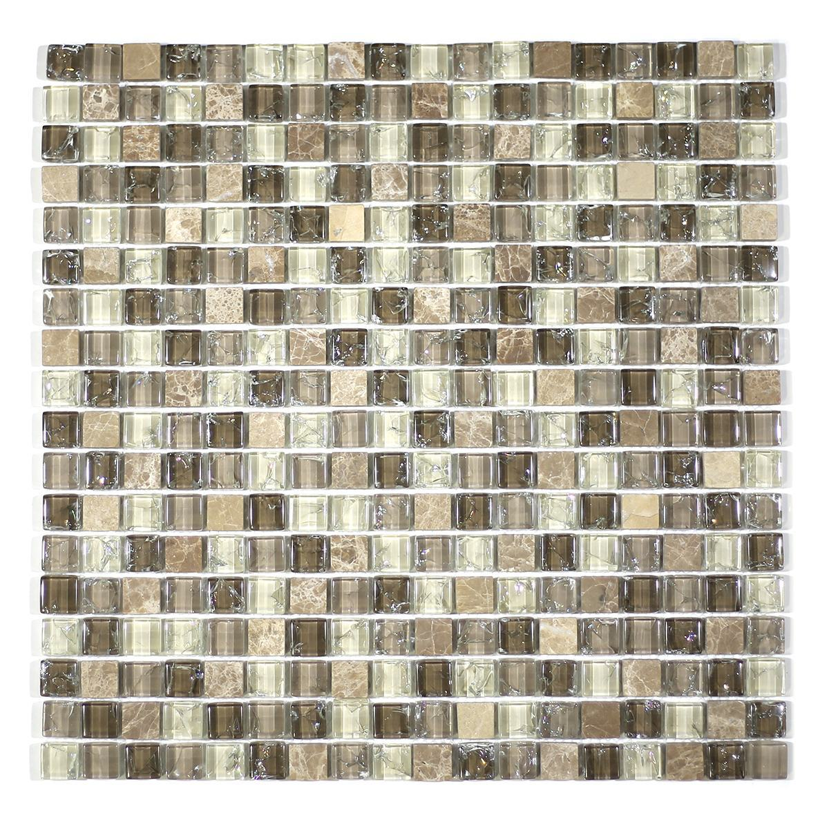 "MA17-S  5/8"" SQUARE GLASS AND STONE CRACKLE MOSAIC"