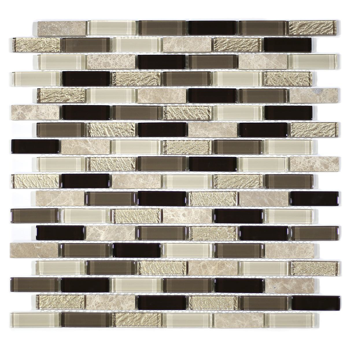 "MA34-LB  2"" BRICK GLASS AND STONE MOSAIC BLEND"