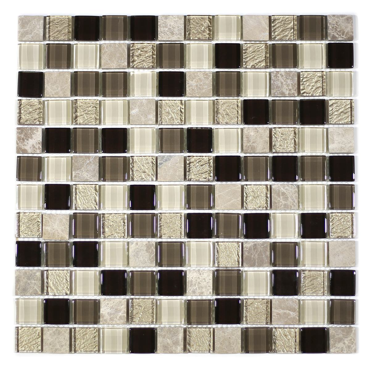 "MA34-LS  1"" SQUARE GLASS AND STONE MOSAIC BLEND"