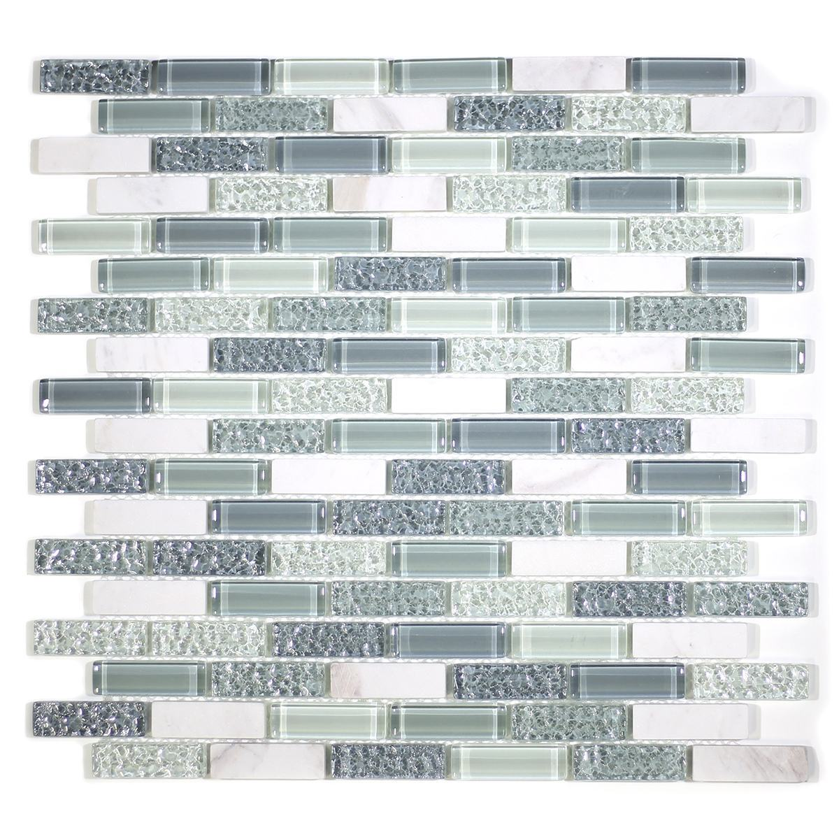 "MA04-LB  2"" BRICK GLASS AND MARBLE MOSAIC BLEND"