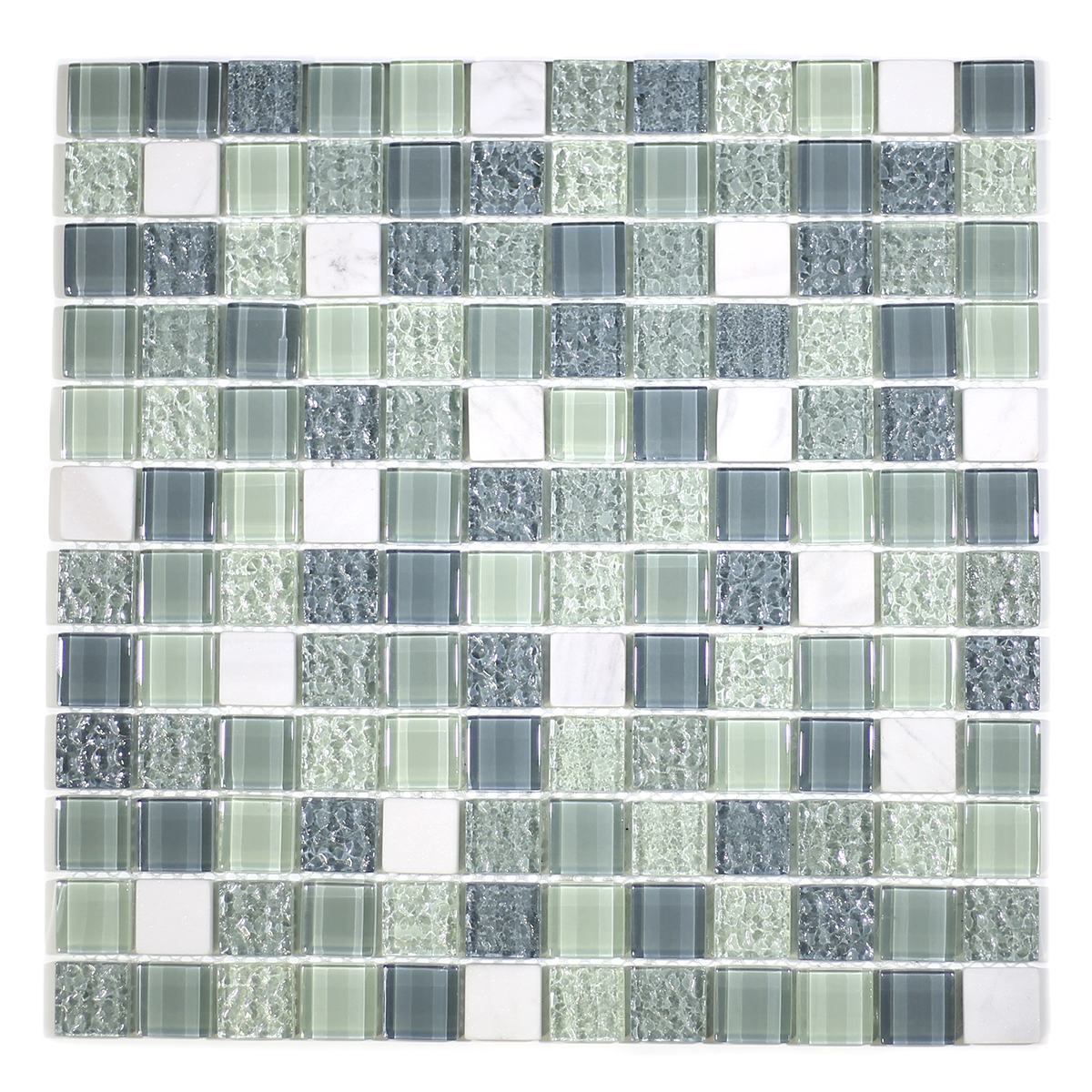 "MA04-LS  1"" SQUARE GLASS AND MARBLE MOSAIC BLEND"