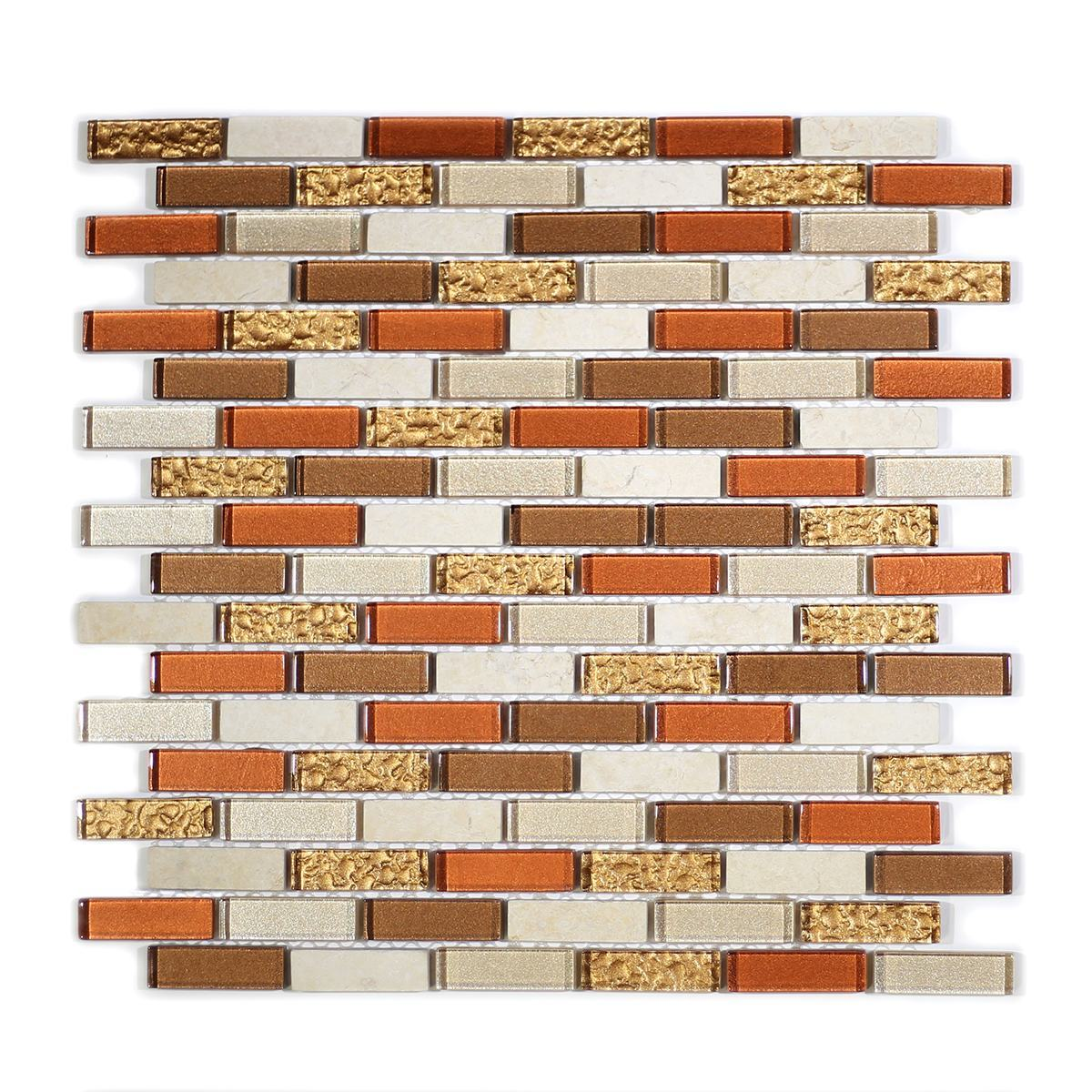 "MA06-LB  2"" BRICK GLASS MOSAIC BLEND"