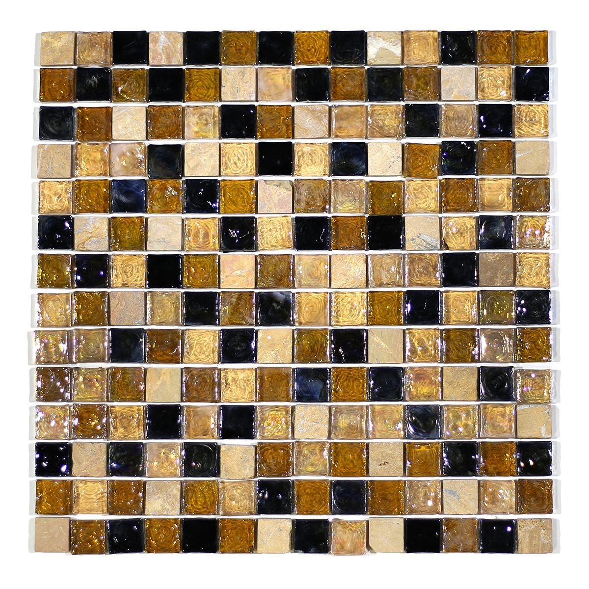"MA11-LS 3/4"" SQUARE RECYCLE GLASS AND STONE MOSAIC BLEND"