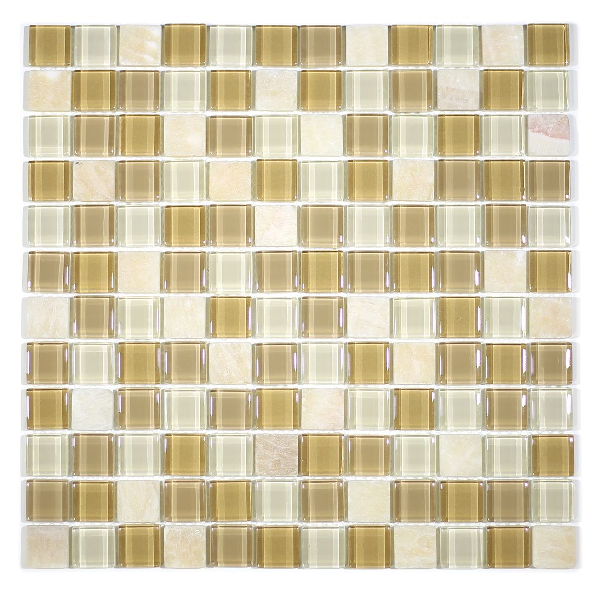 "MA12-LS  1"" SQUARE GLASS AND STONE MOSAIC BLEND"