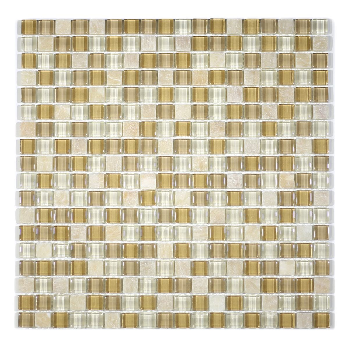 "MA12-S  5/8"" SQUARE GLASS AND STONE MOSAIC BLEND"
