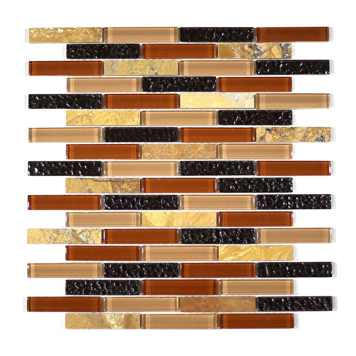 "MA13-B  3"" BRICK GLASS AND STONE MOSAIC BLEND"
