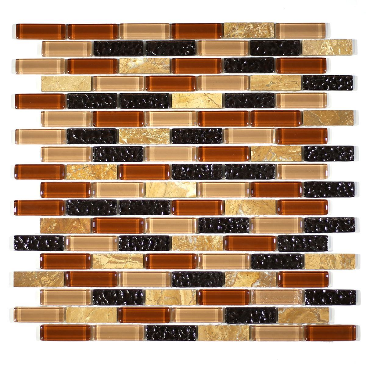 "MA13-LB  2"" BRICK GLASS AND STONE MOSAIC BLEND"