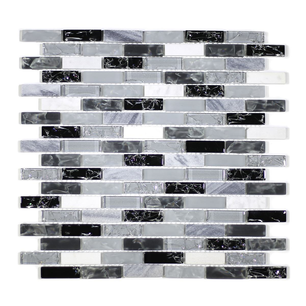 "MA14-LB  2"" BRICK GLASS CRACKLE AND MARBLE MOSAIC BLEND"