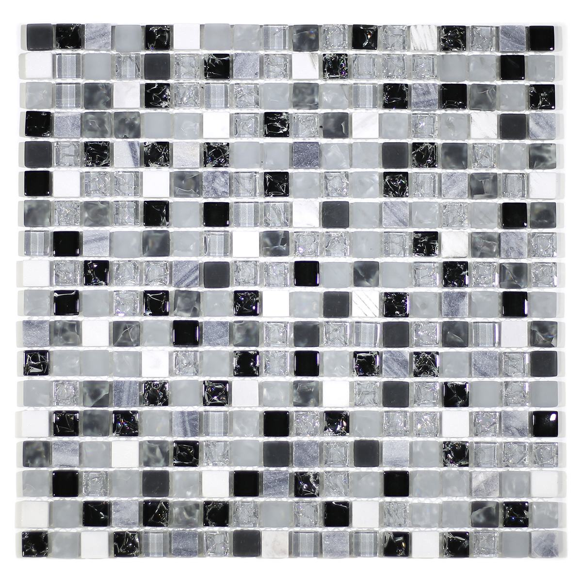 "MA14-S  5/8"" SQUARE GLASS CRACKLE AND MARBLE MOSAIC BLEND"