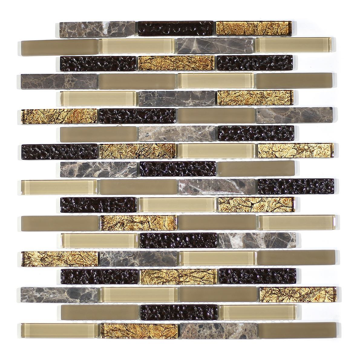 "MA18-B  3"" BRICK GLASS MOSAIC AND MARBLE BLEND"