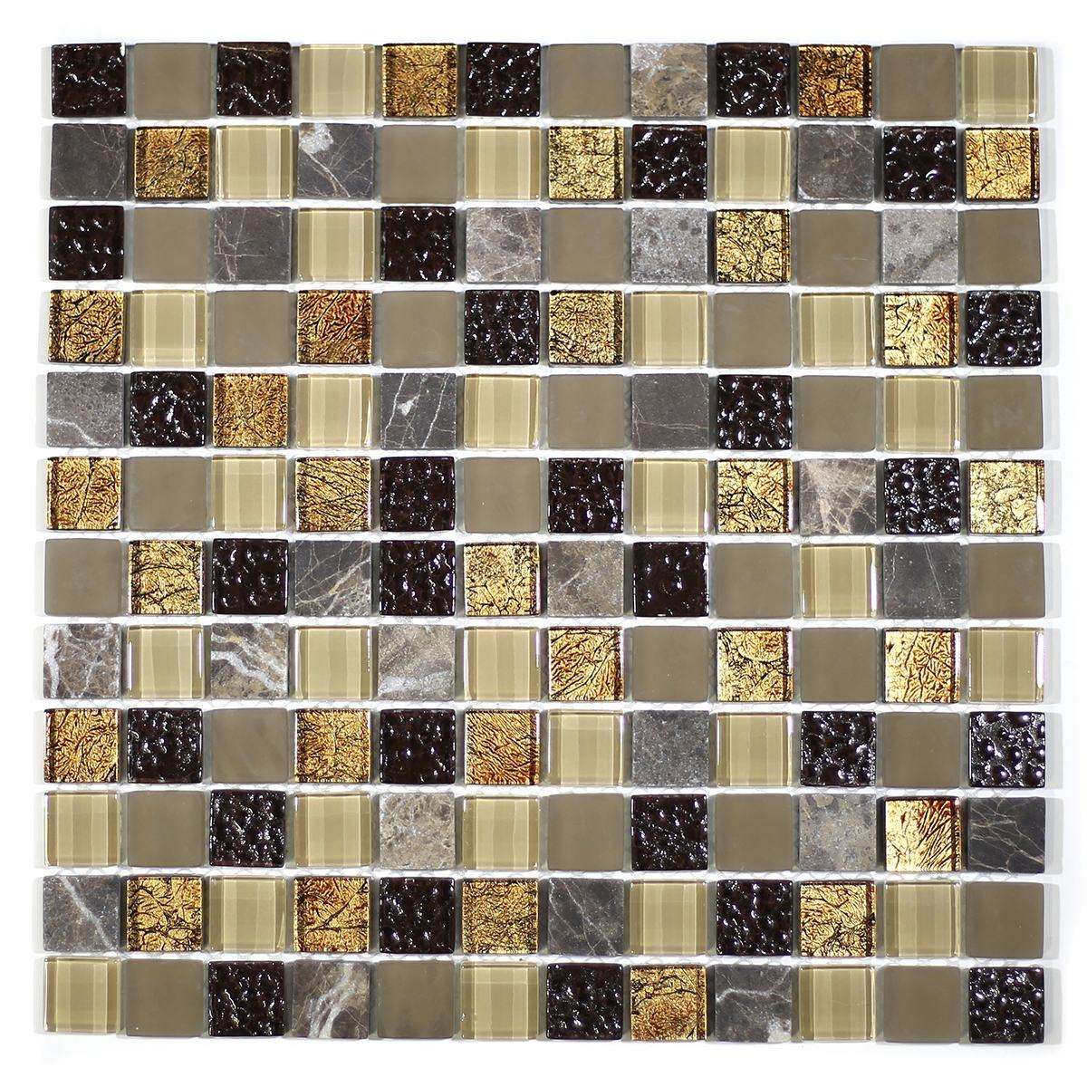 "MA18-LS  1"" SQUARE GLASS MOSAIC AND MARBLE  BLEND"
