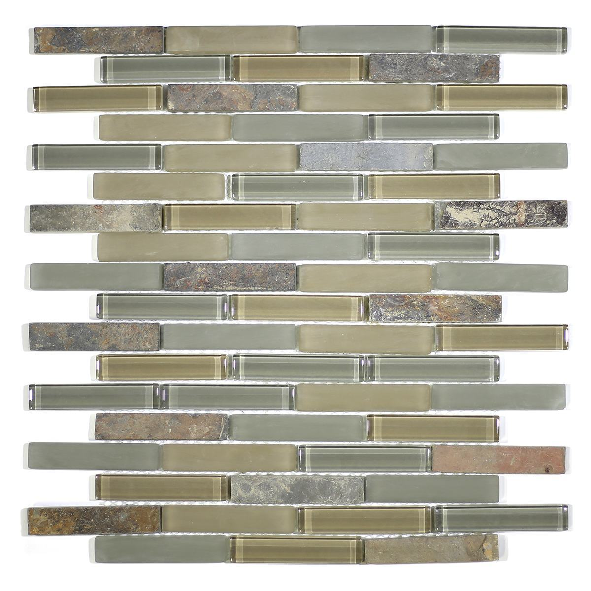 "MA19-B  3"" BRICK GLASS AND STONE MOSAIC BLEND"