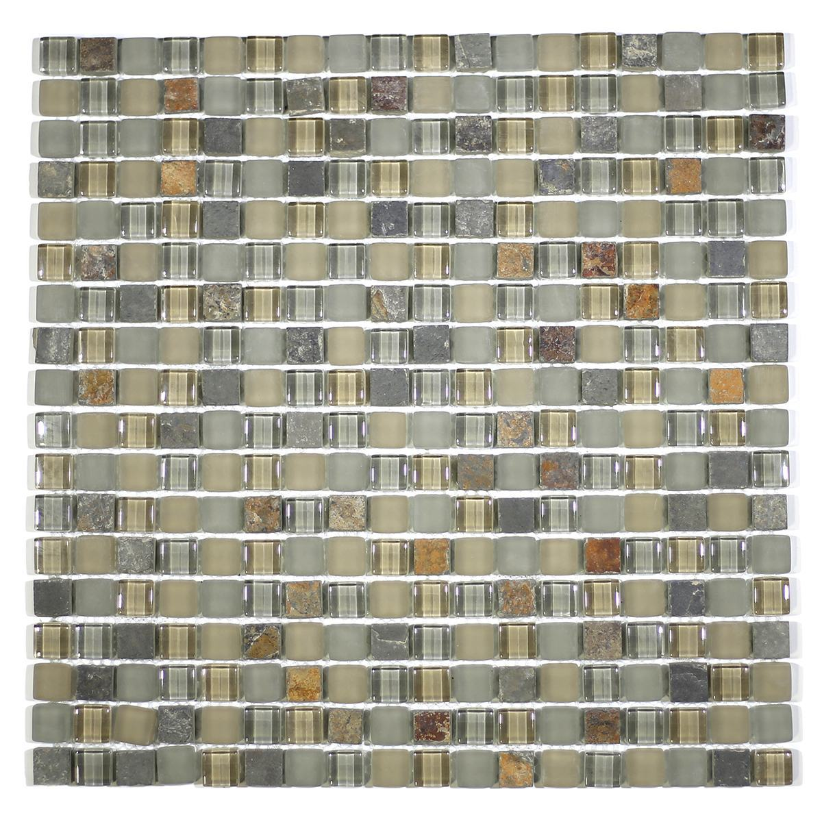 "MA19-S 5/8"" SQUARE GLASS AND STONE MOSAIC BLEND"