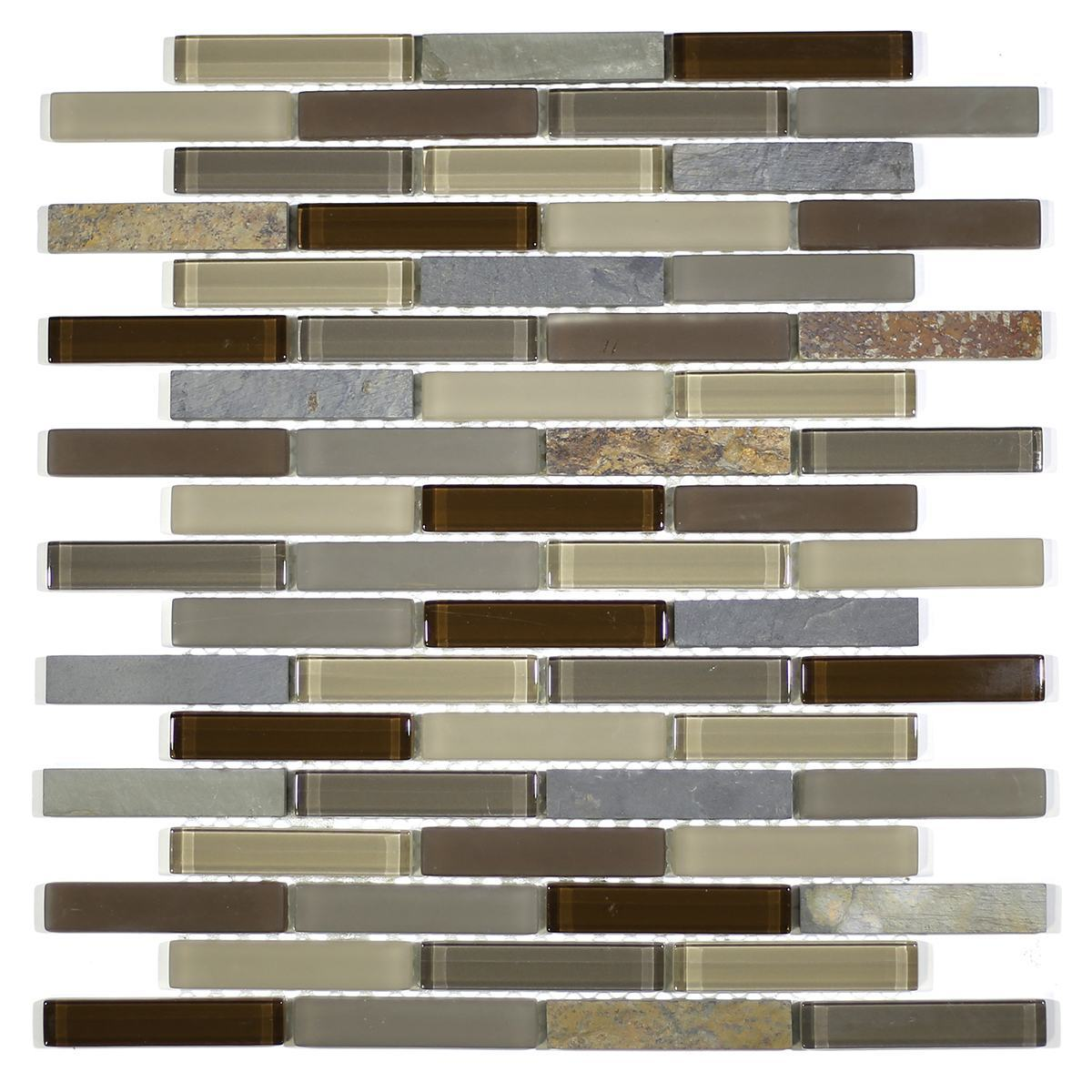 "MA20-B  3"" BRICK GLASS AND STONE MOSAIC BLEND"