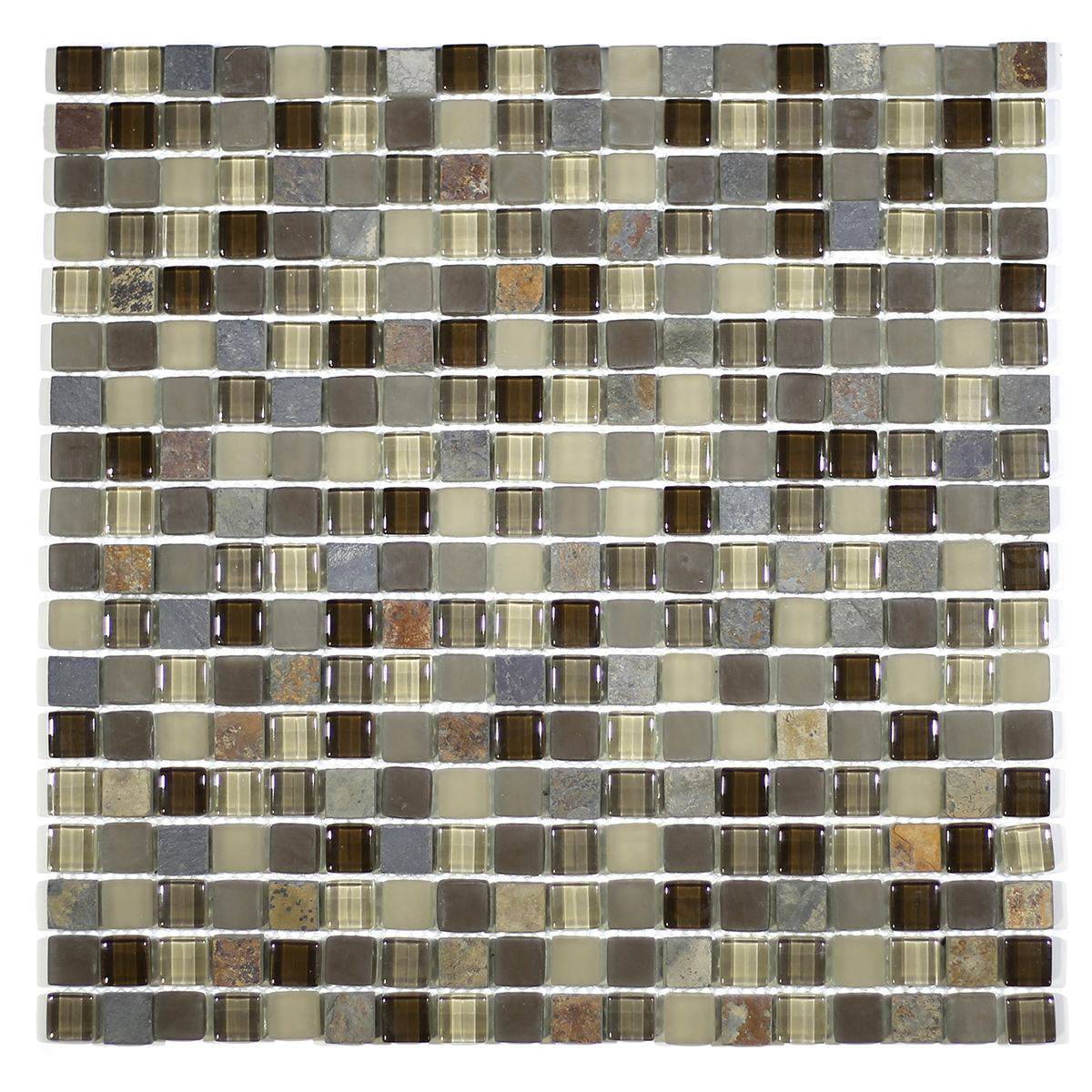 "MA20-S  5/8"" SQUARE GLASS AND STONE MOSAIC BLEND"