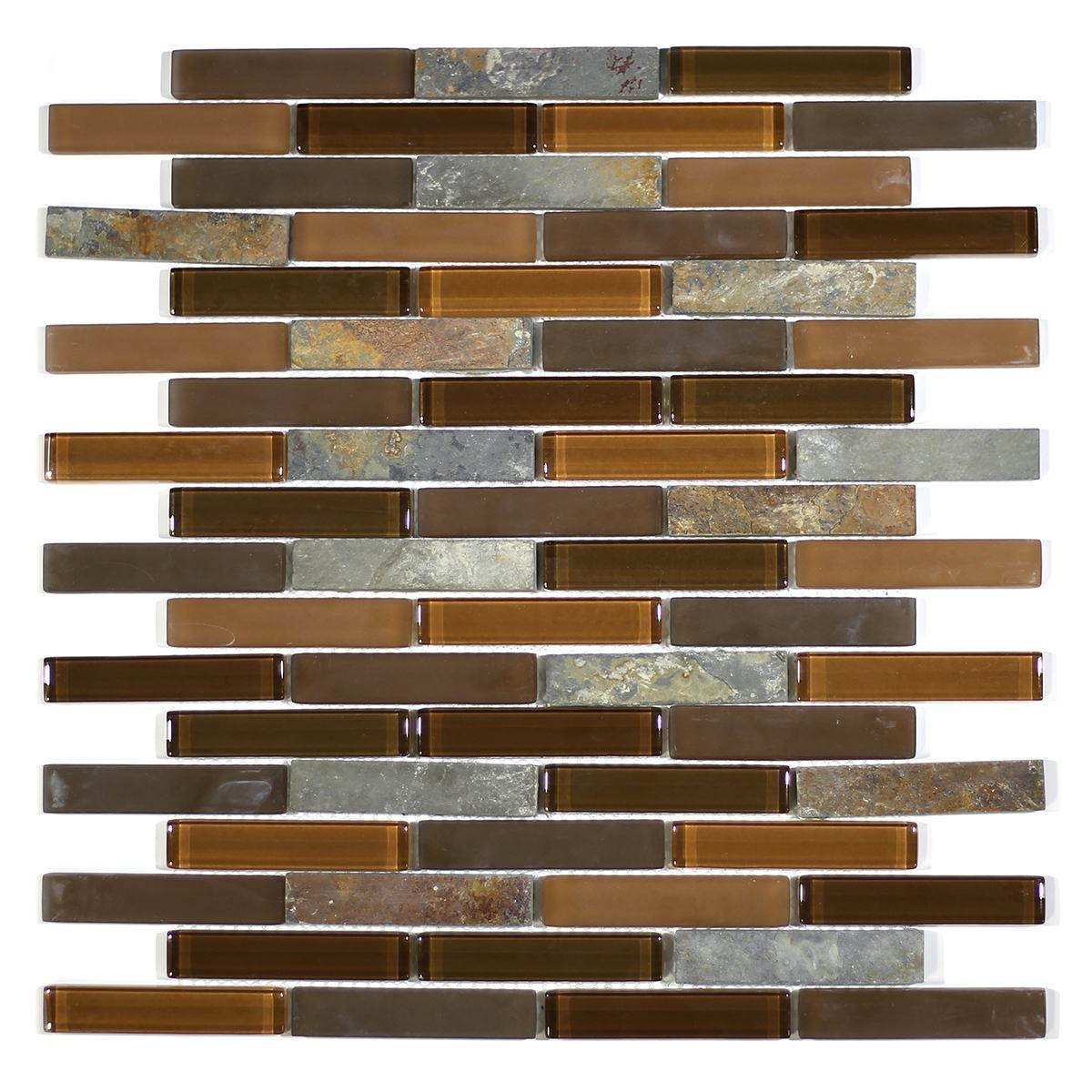 "MA21-B  3"" BRICK GLASS AND STONE MOSAIC BLEND"