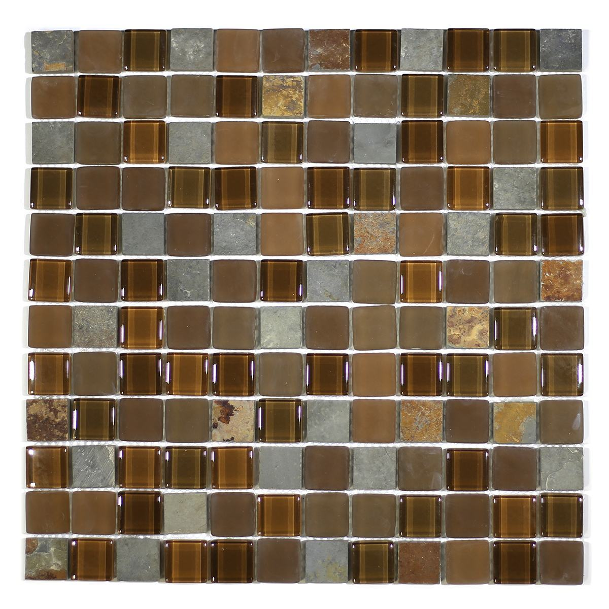 "MA21-LS  1"" SQUARE GLASS AND STONE MOSAIC BLEND"
