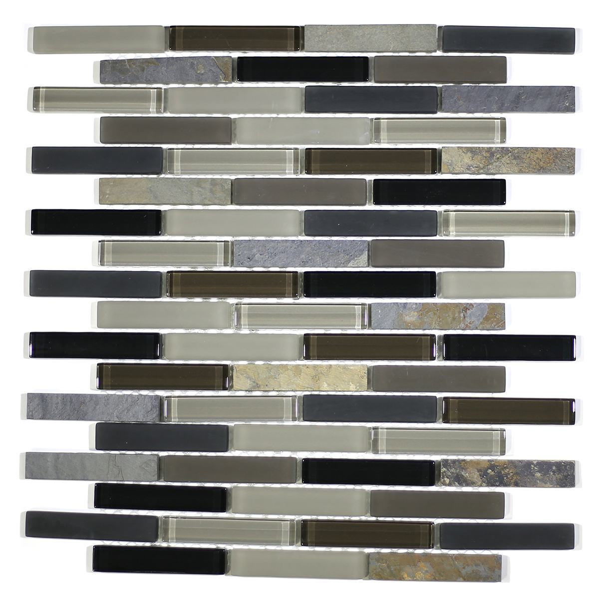 "MA22-B  3"" BRICK GLASS AND STONE MOSAIC BLEND"