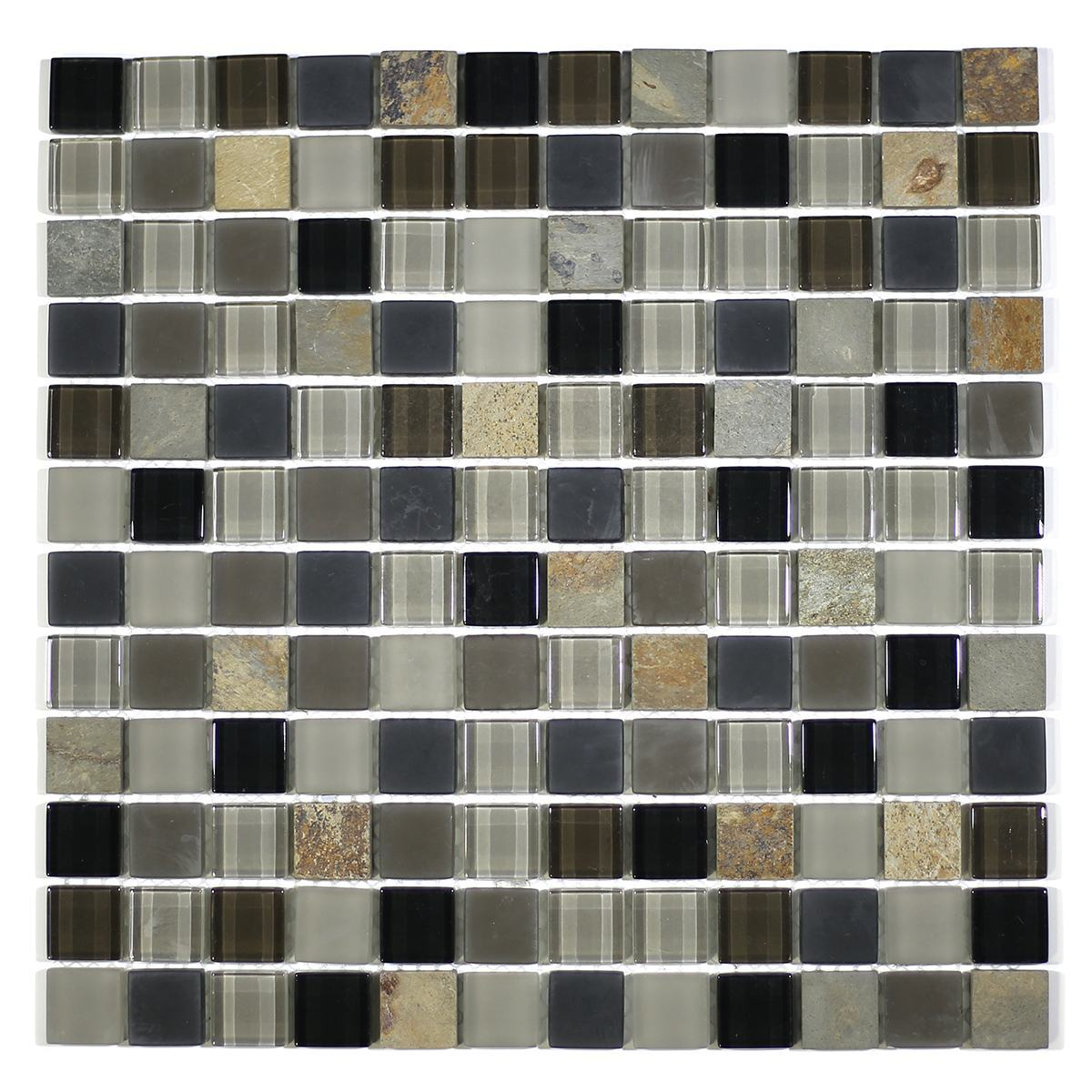 "MA22-LS  1"" SQUARE GLASS AND STONE MOSAIC BLEND"