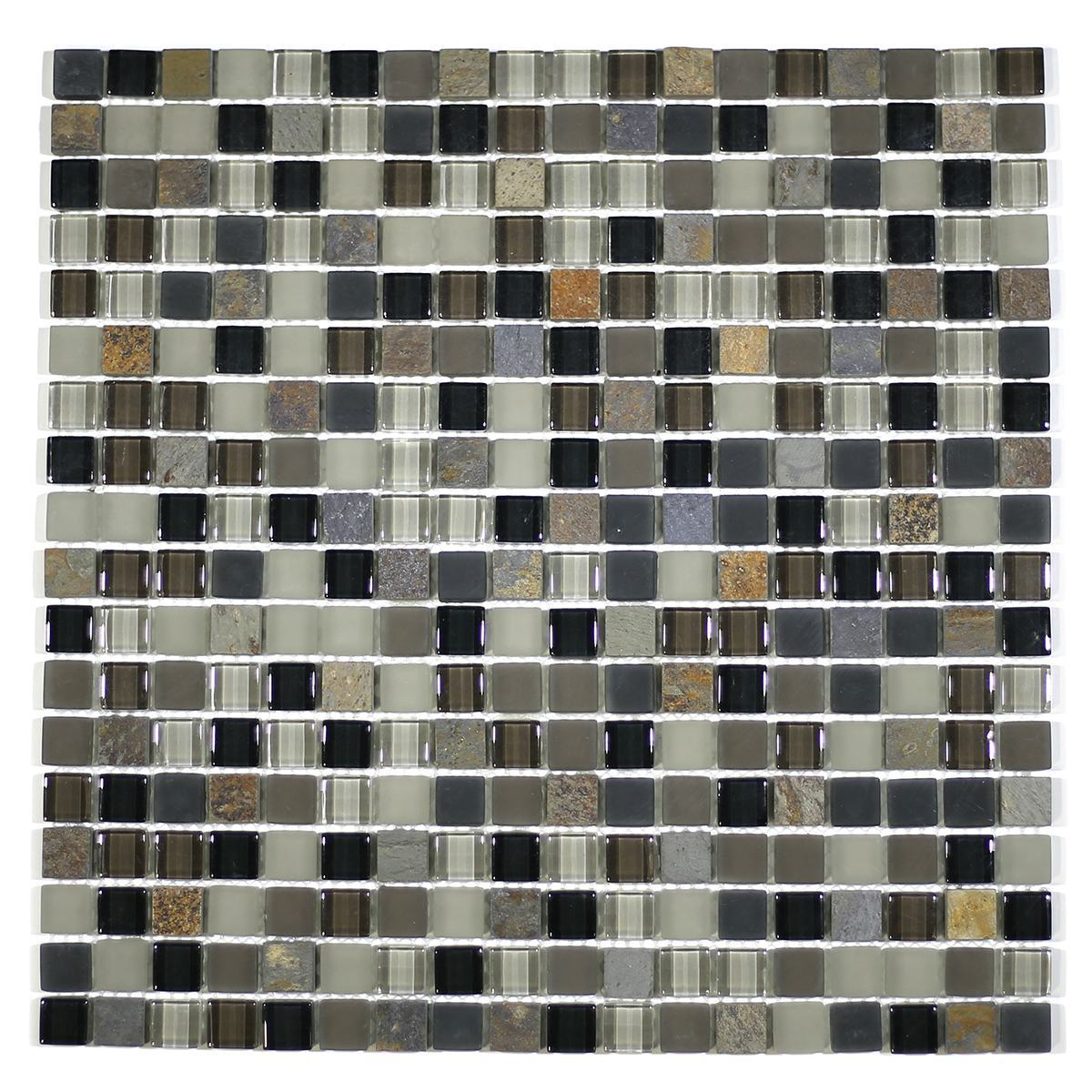 "MA22-S  5/8"" SQUARE GLASS AND STONE MOSAIC BLEND"