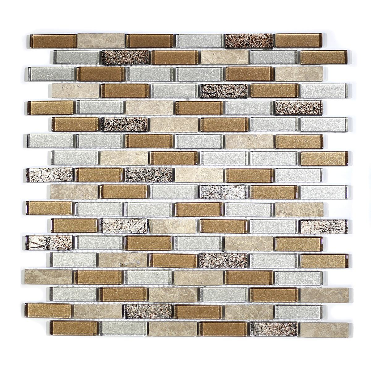"MA28-LB  2"" BRICK GLASS MOSAIC AND MARBLE BLEND"