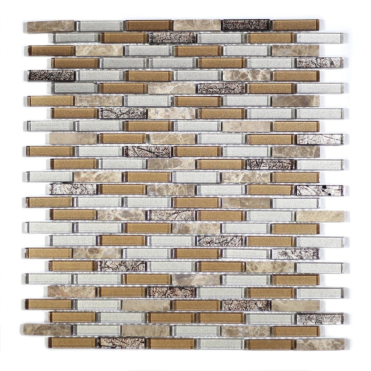 MA28-MB  MINI BRICK GLASS MOSAIC AND MARBLE BLEND