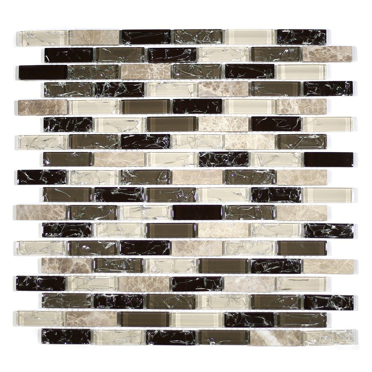 "MA31-LB  2"" BRICK GLASS AND STONE CRACKLE MOSAIC"