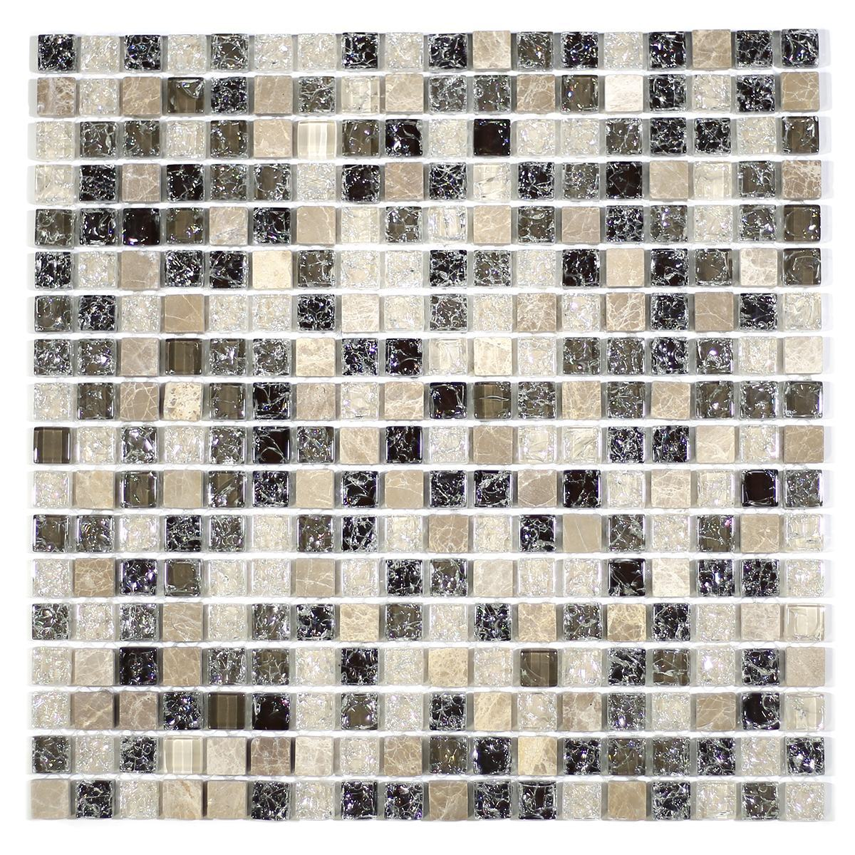 "MA31-S  5/8"" SQUARE GLASS AND STONE CRACKLE MOSAIC"