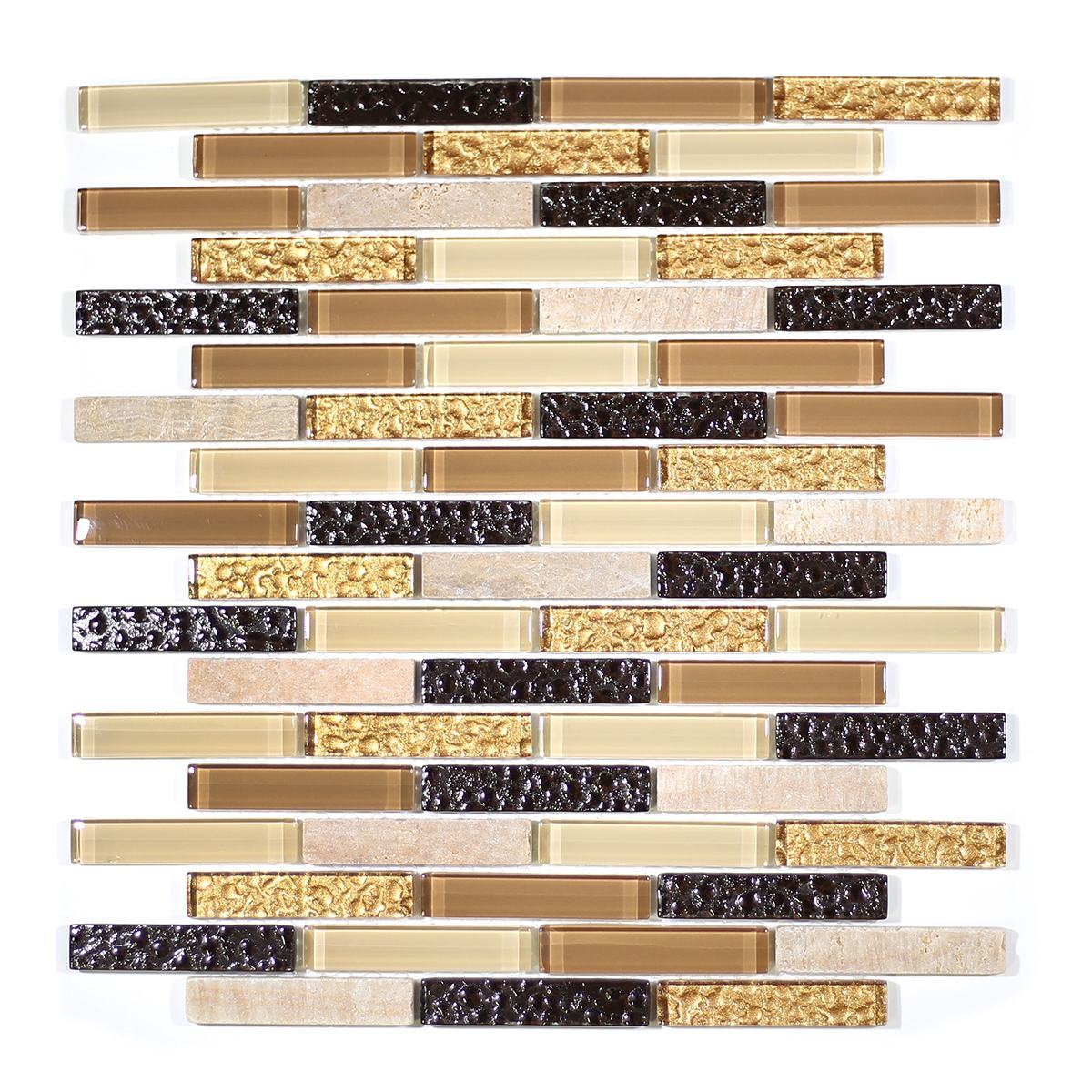 "MA07-B  3"" BRICK GLASS AND MARBLE MOSAIC BLEND"