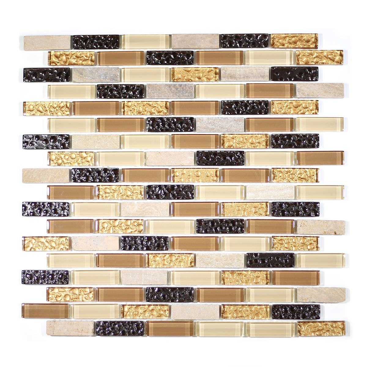 "MA07-LB  2"" BRICK GLASS AND MARBLE MOSAIC BLEND"