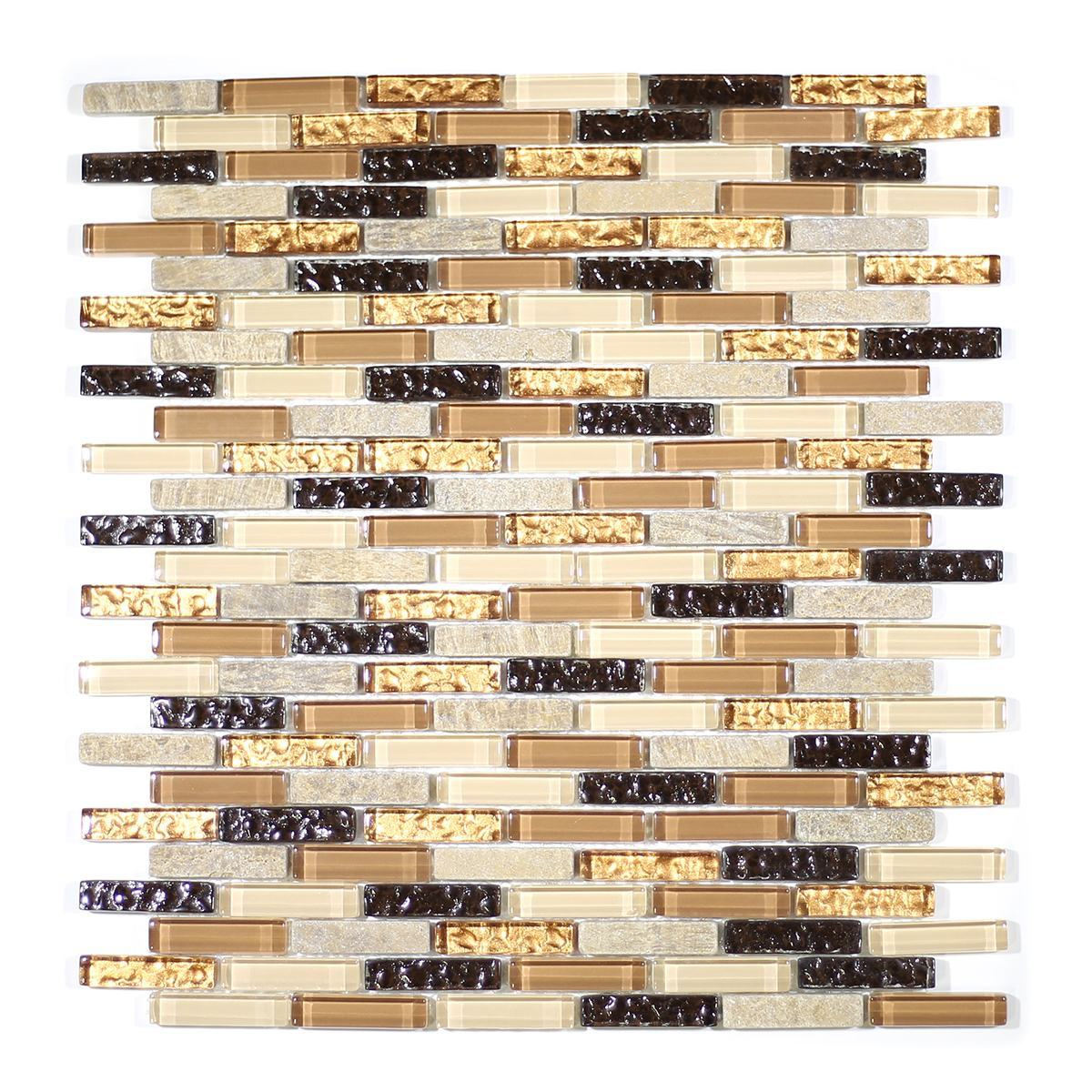 MA07-MB  MINI BRICK GLASS AND MARBLE MOSAIC BLEND