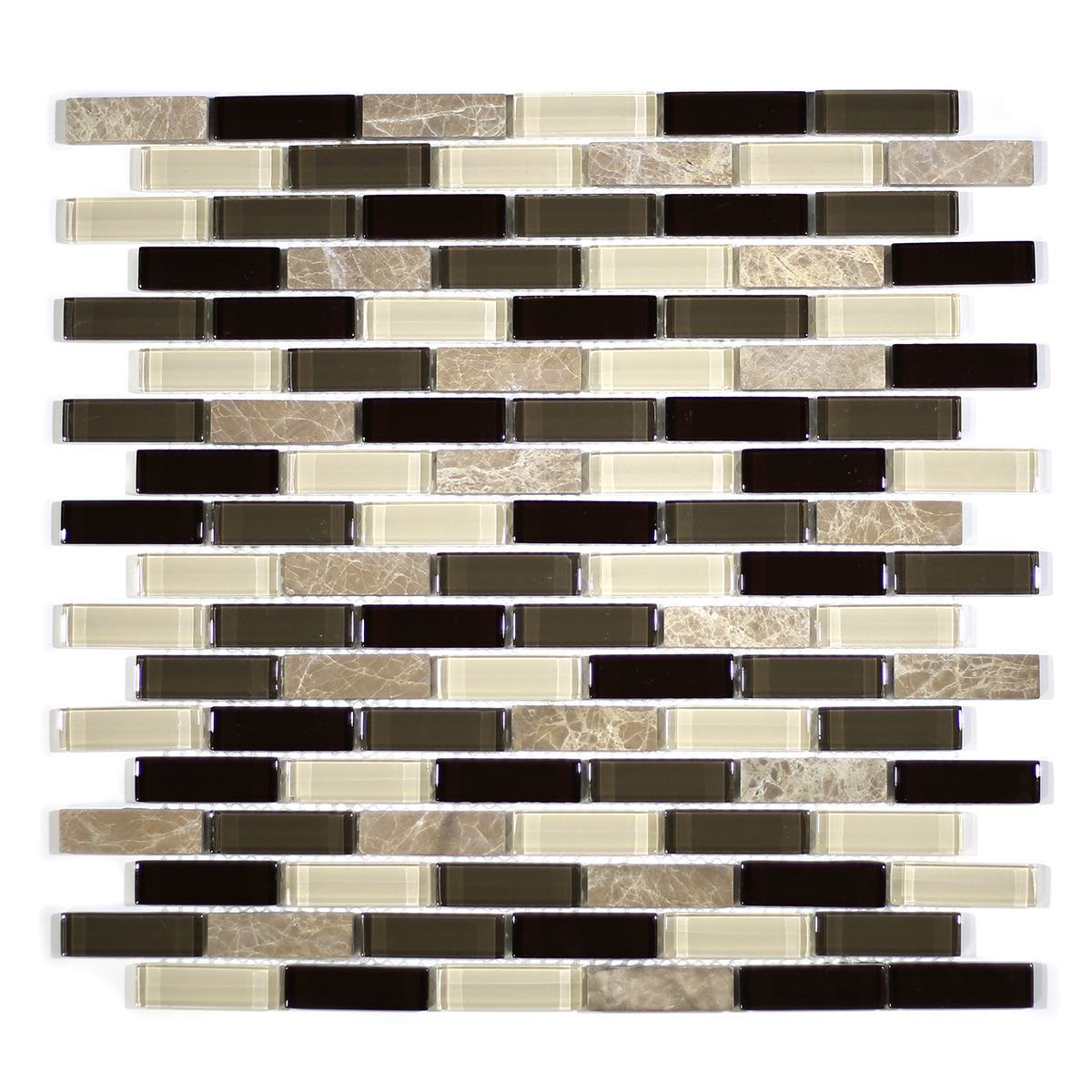 "MA23-LB  2"" BRICK GLASS MOSAIC AND MARBLE BLEND"