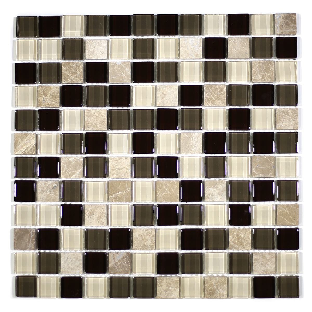 "MA23-LS  1"" SQUARE GLASS MOSAIC AND MARBLE BLEND"