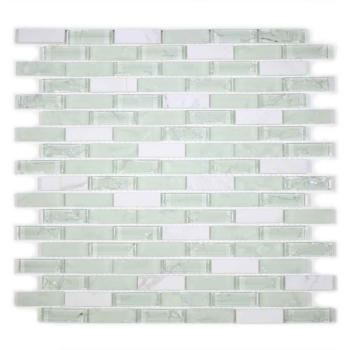 "MA30-LB  2"" BRICK GLASS AND STONE CRACKLE MOSAIC"