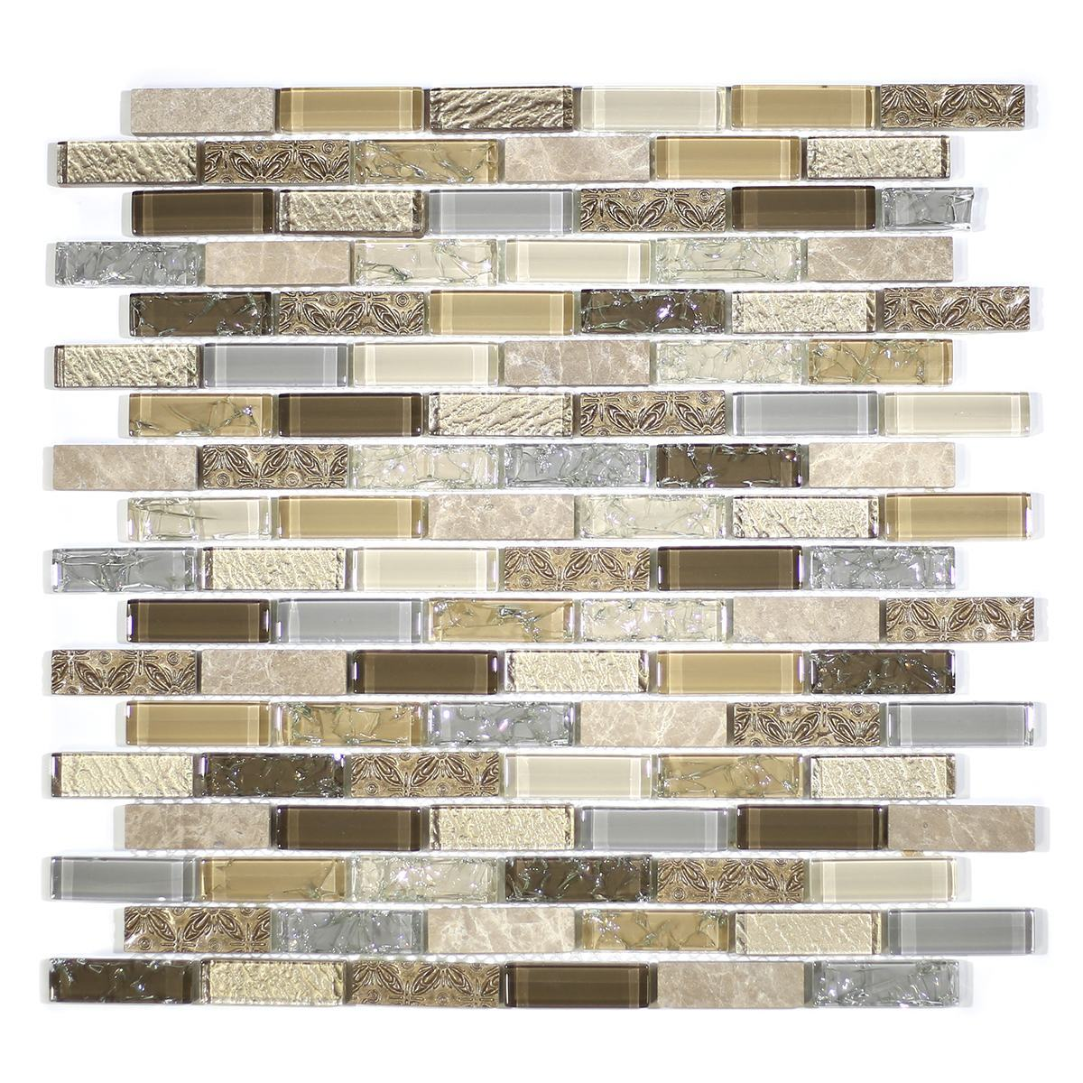 "MA39-LB  2"" BRICK GLASS AND RESIN DECORATIVE PIECES MIX"