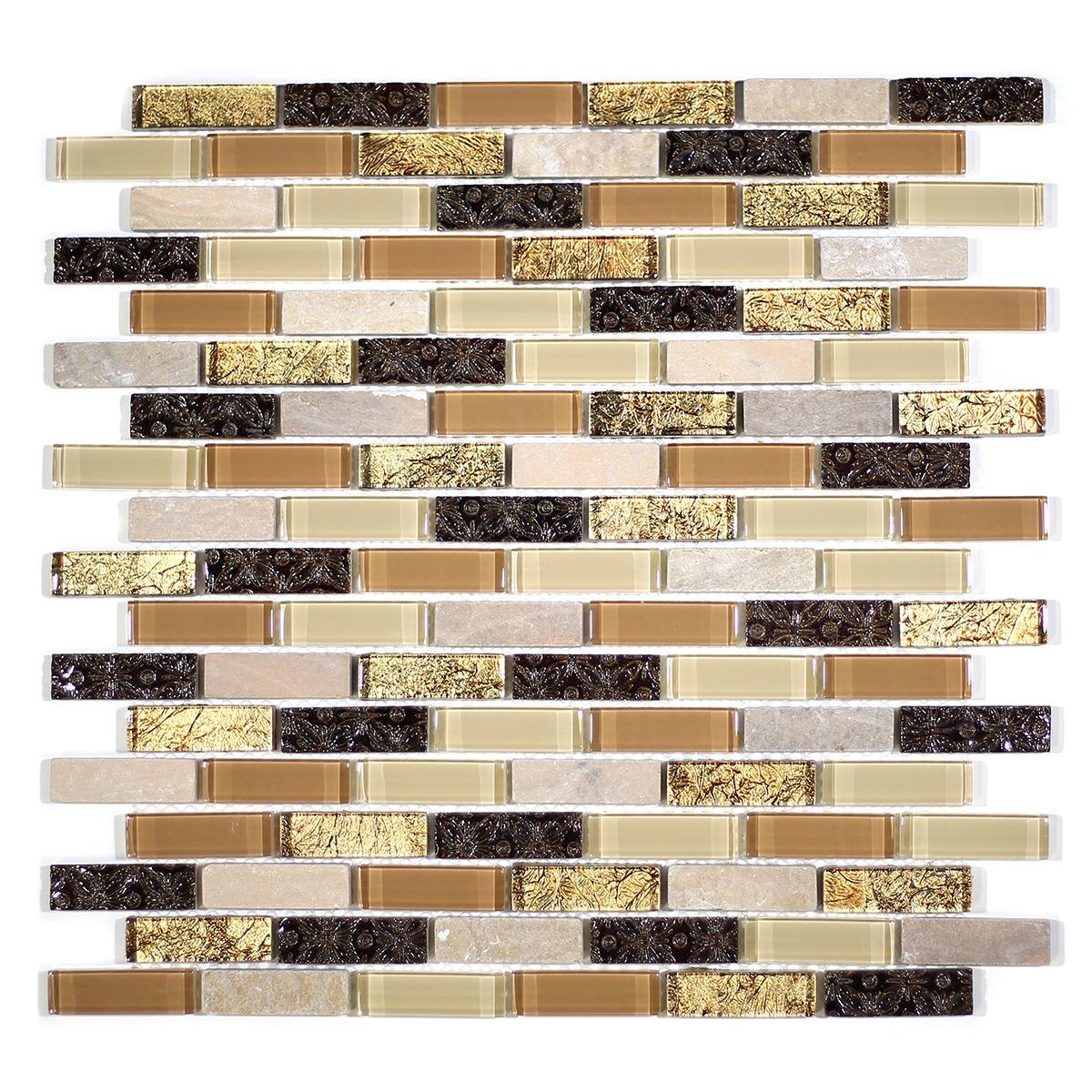 "MA40-LB  2"" BRICK GLASS AND RESIN DECORATIVE PIECES MIX"