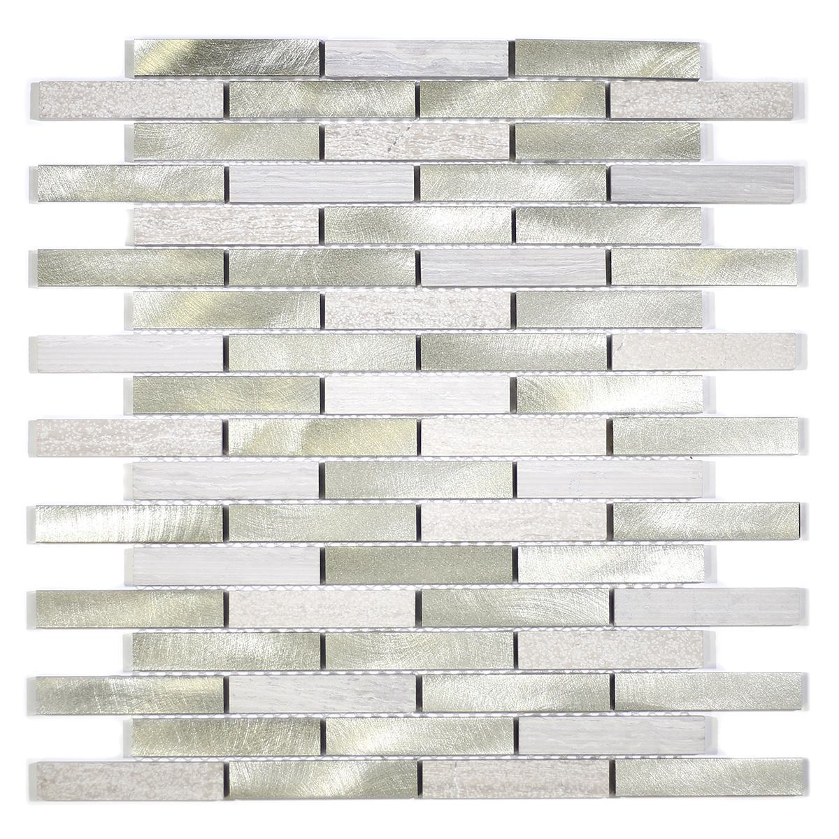"MA58-B  3"" BRICK STONE AND ALUMINUM COATING MOSAIC"