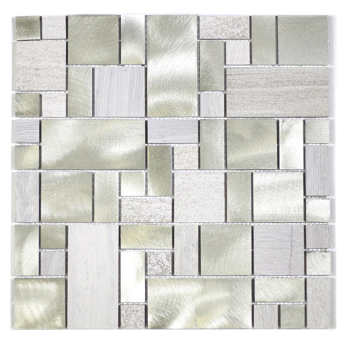 MA58-RM  RANDOM STONE AND ALUMINUM COATING MOSAIC