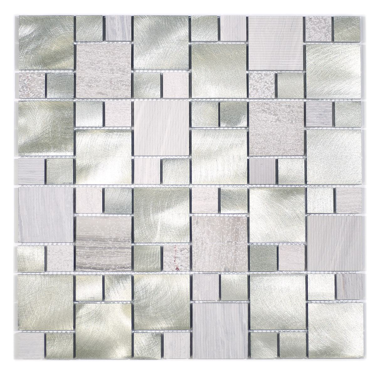 MA58-SM  RANDOM STONE AND ALUMINUM COATING MOSAIC
