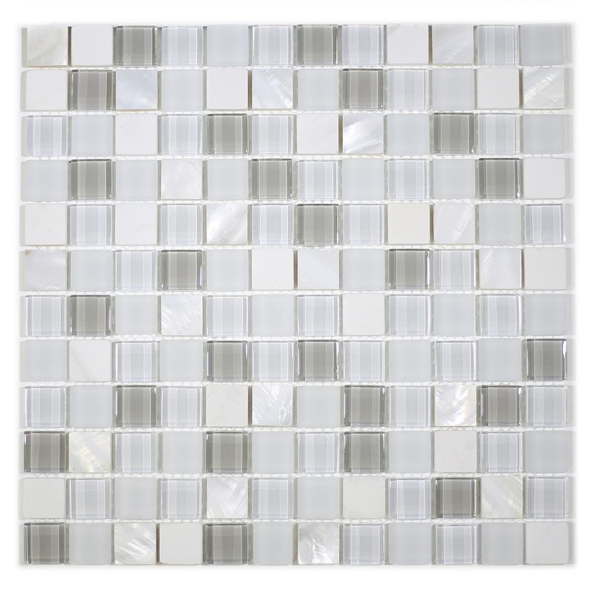 """MA68-LS  1"""" SQUARE SHELL, MARBLE AND GLASS MOSAIC"""
