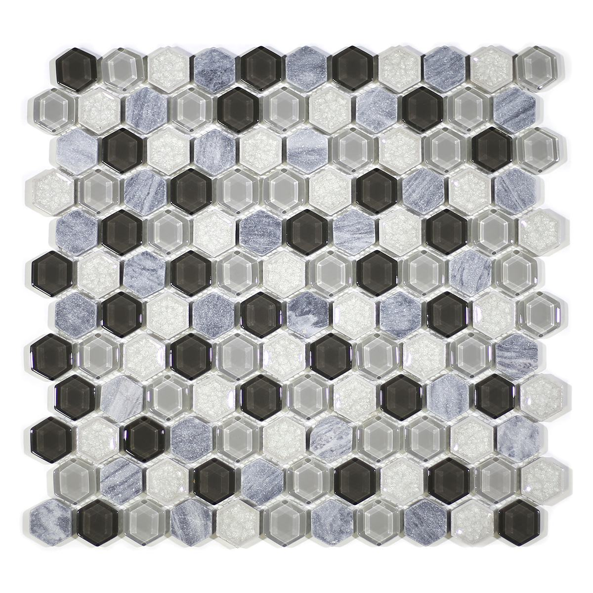 "MA73-HX  1"" HEXAGON GLASS AND PORCELAIN MIX"
