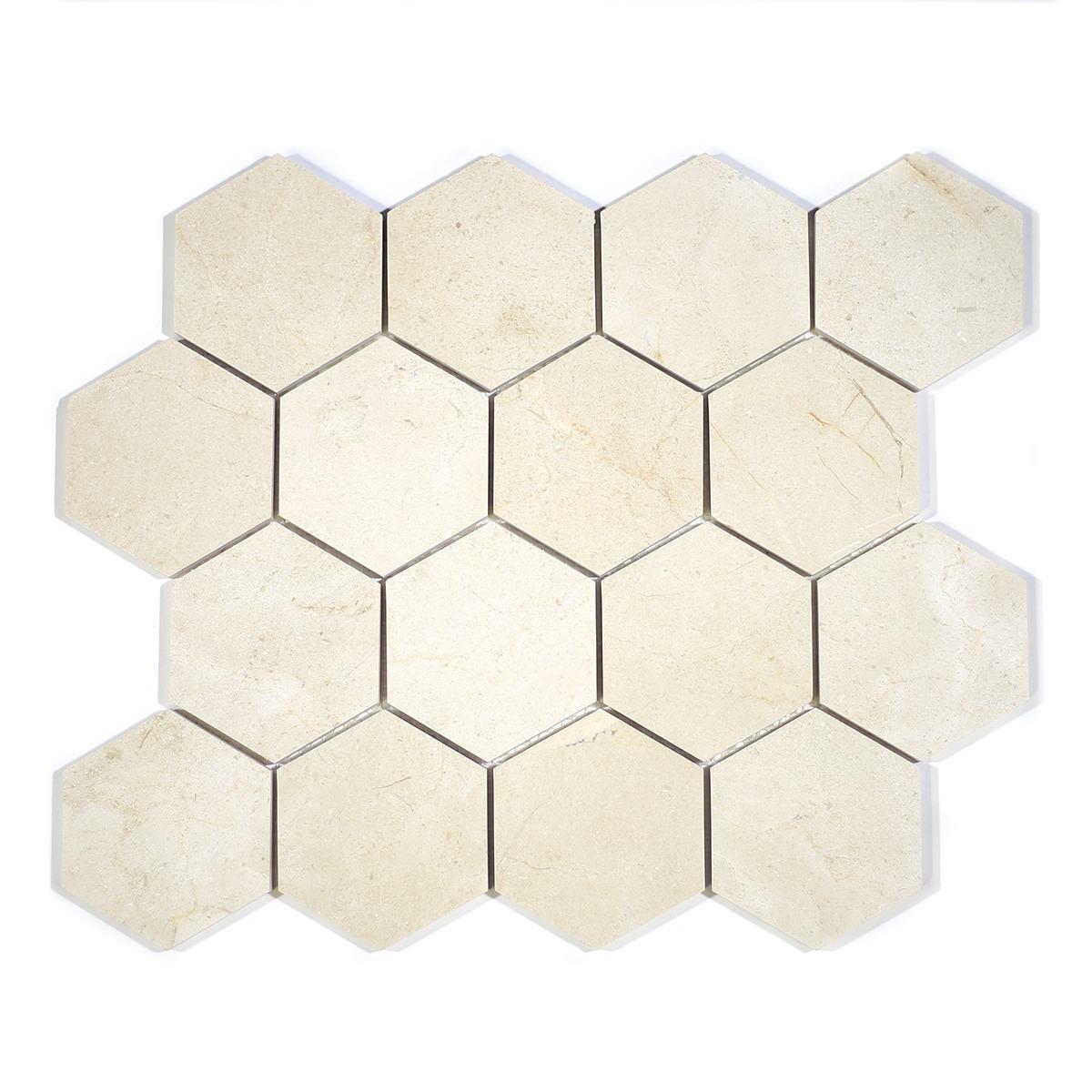 """MA230-HX3  3"""" Crema Marfil Polished Hexagon"""
