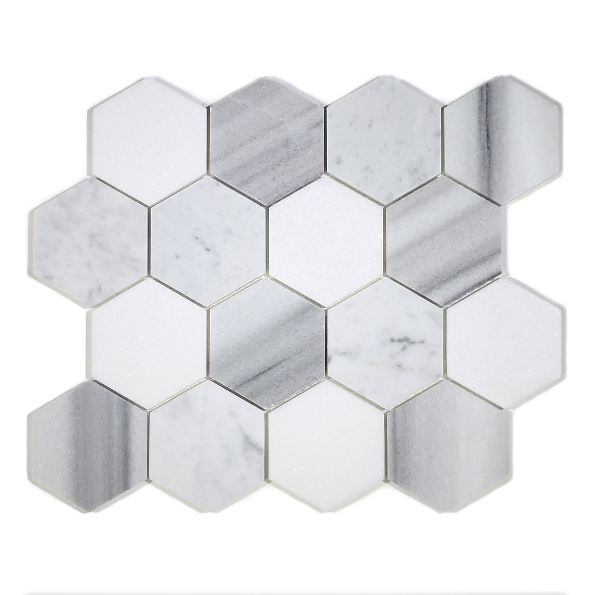 "MA231-HX3  3"" White Carrara, marwa, thasos POLISHED Hexagon"