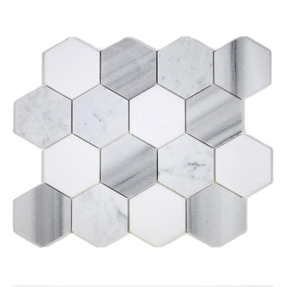 "MA231-HX3  3"" White Carrara, marwa, thasos POLISHED Hexagon"