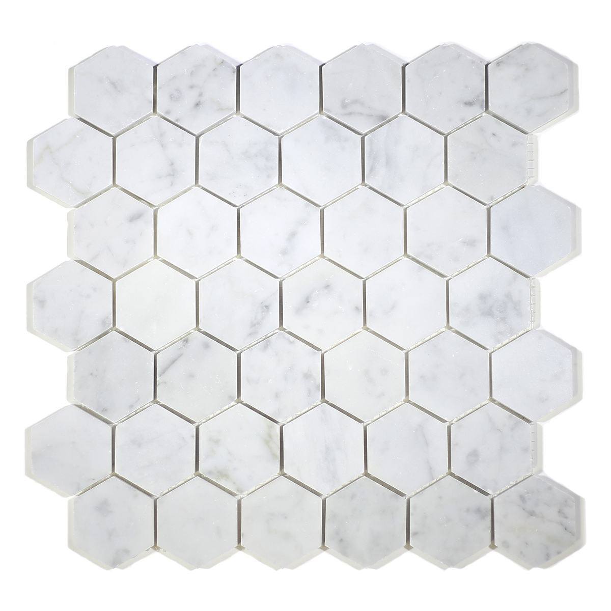 "MA233-HX2   2"" White Carrara HONED Hexagon"