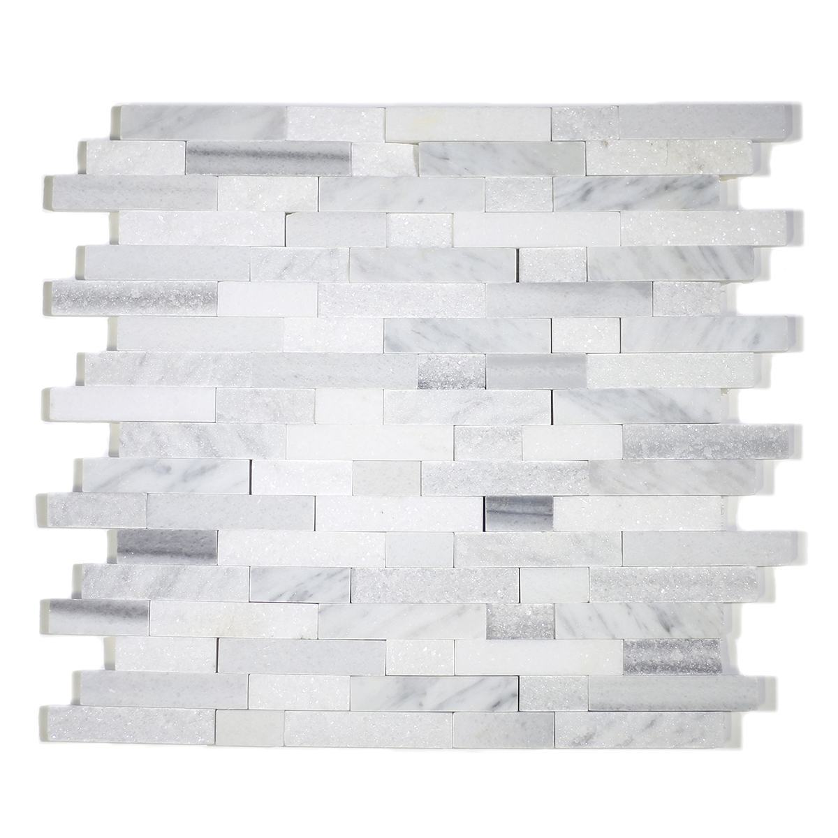 MA252-SP  5/8 Carrara, marwa, thasos Strips split face without space polished & matt mixed