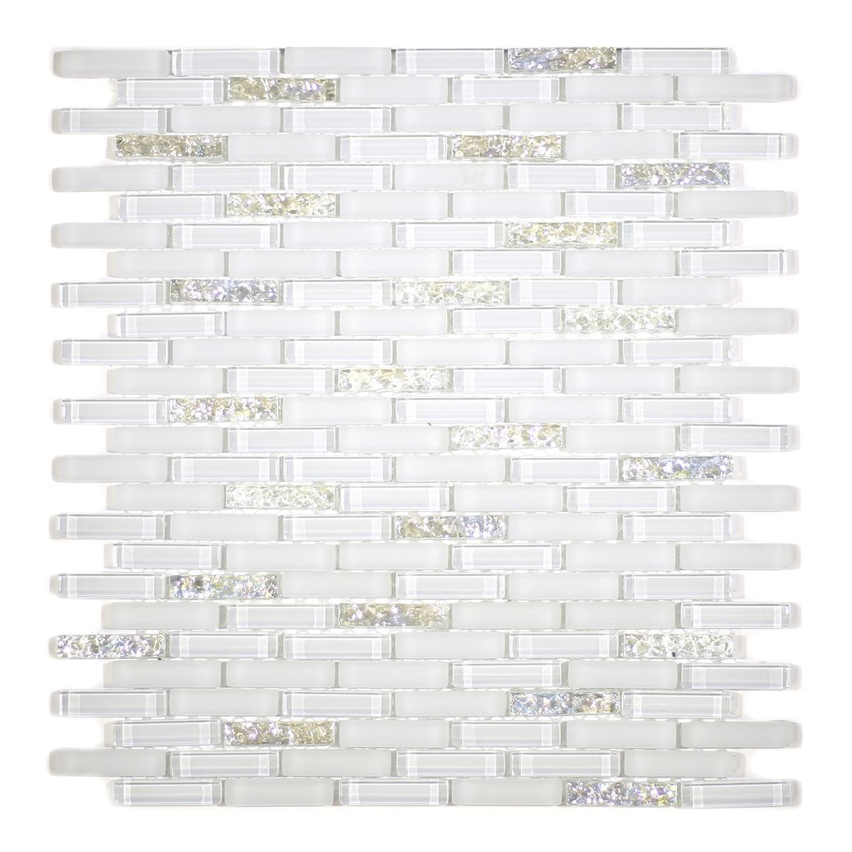 MA27-MB  MINI BRICK WHITE GLASS MOSAIC AND MARBLE BLEND